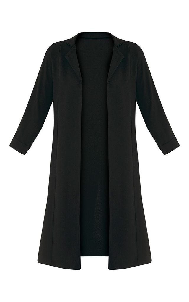 warm coat—Pretty Little Thing Fayela Black Split Detail Duster Coat