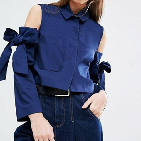 Crop Jacket with Bow Cold Shoulder