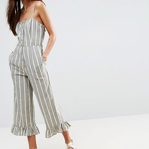 Cami Jumpsuit with Frill Hem and Button Front