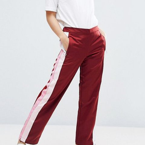 Straight Leg Track Pants with Side Stripes and Ring Pulls