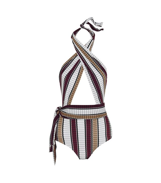 Karla Colletto Palazzo Striped Wrap Swimsuit