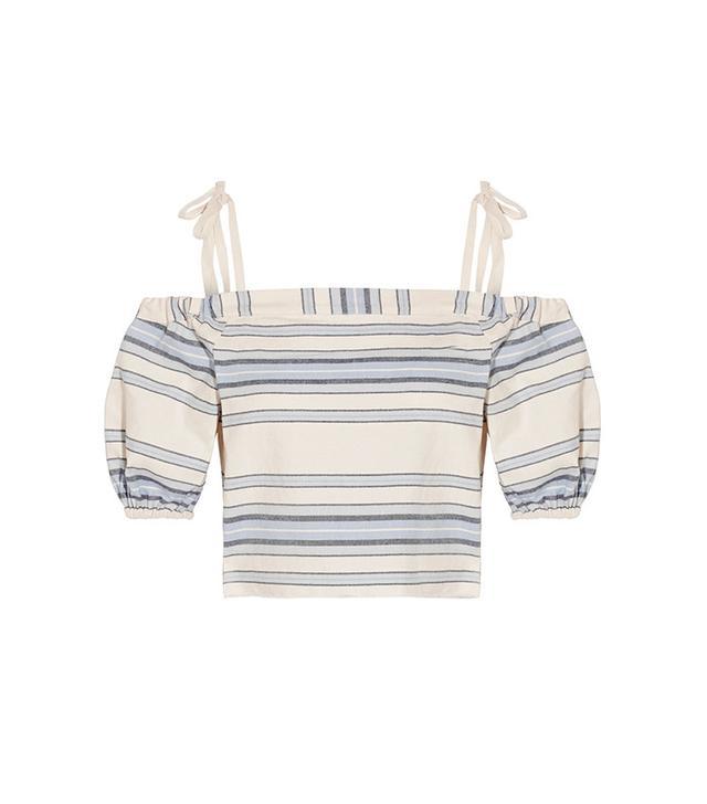 Lemlem Halima Off-the-Shoulder Striped Cotton and Linen-Blend Top