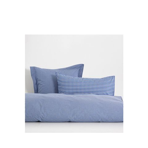 Reversible Gingham Percale Cotton Bed Linen