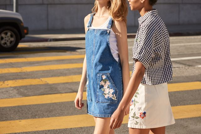 cute spring dress—Topshop Moto Tulip Embroidered Pinafore Dress