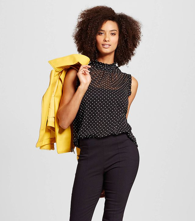 best ruffle blouse sheer polka dot