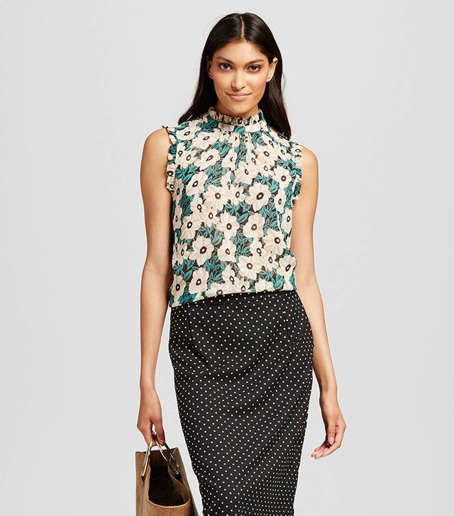 best ruffle blouses sleeveless floral