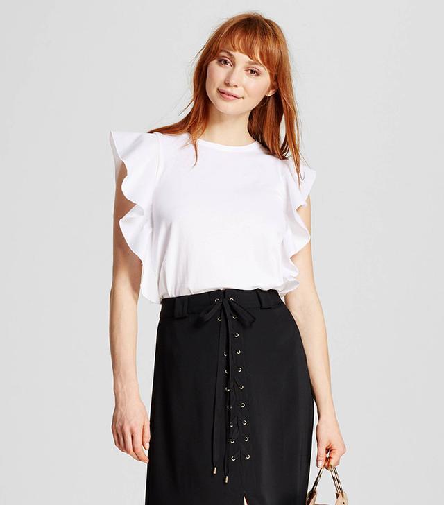 best ruffle tops white sleeveless