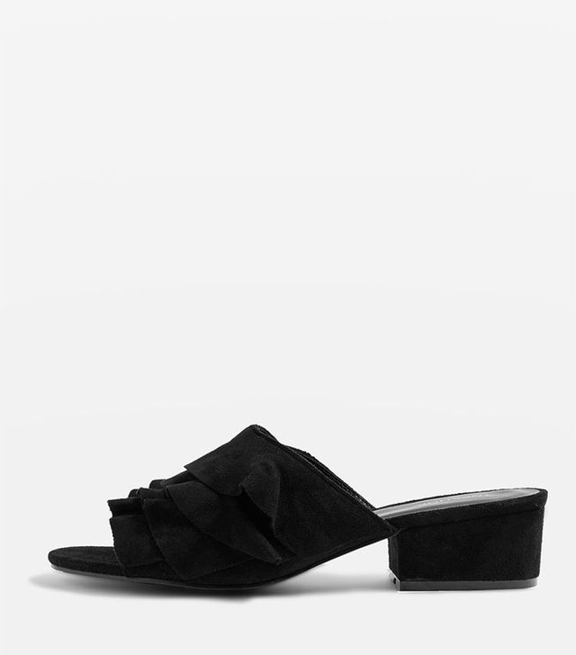 Topshop Darcy Ruffle Mules in Black