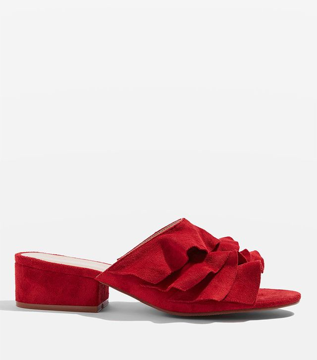 Topshop Darcy Ruffle Mules in Red