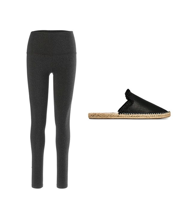 Pictured: Beyond Yoga Take Me Higher Long Leggings ($88); Zara Leather Slingback Espadrilles ($50).