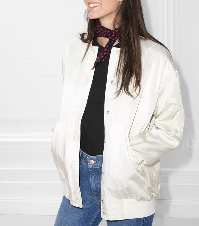 best white bomber jacket
