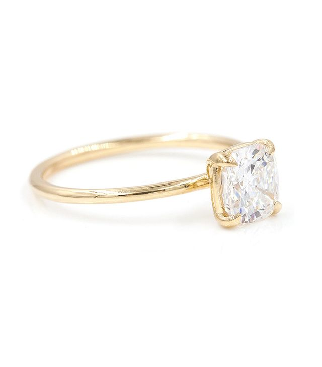 best gold cushion solitaire ring