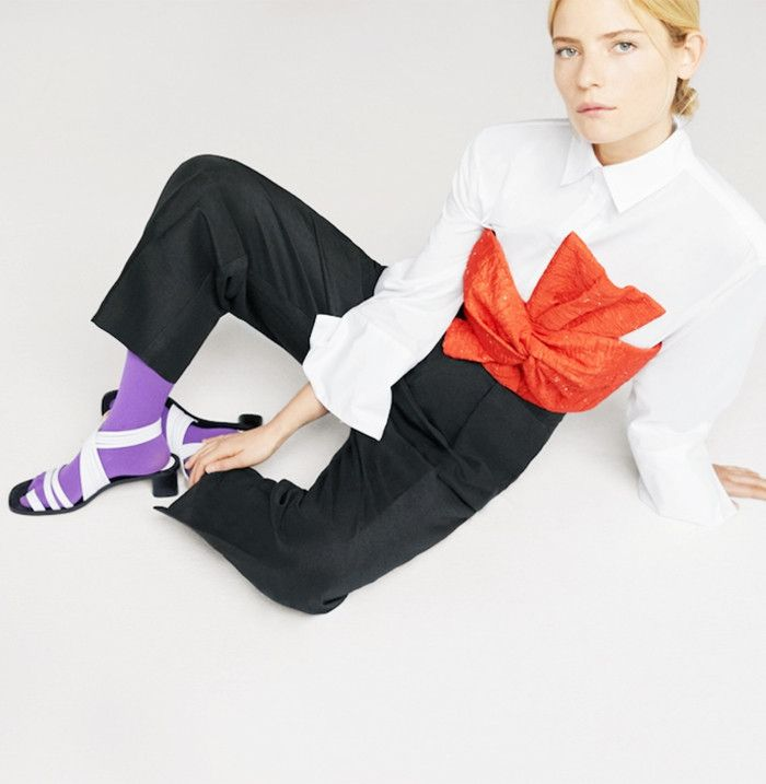 Coloured tights and sandals: Mango shoes