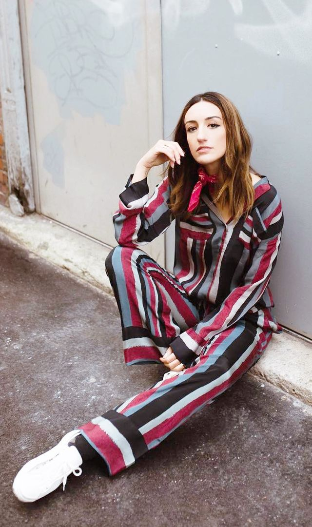french girl style - striped pant suit