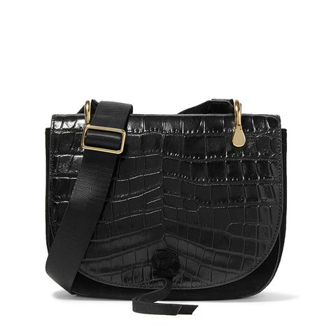 Zoe Saddle Croc-Effect Shoulder Bag