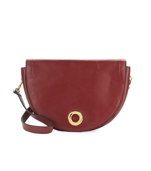 best saddle bags - Halston Heritage Hailstone Leather Shoulder Bag