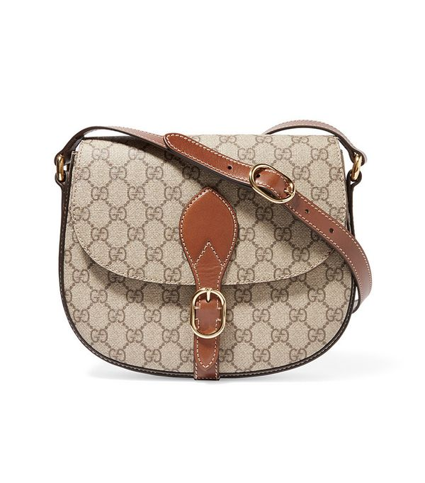 best saddle bags - Gucci Linea A Leather Trimmed Coated Canvas Shoulder Bag