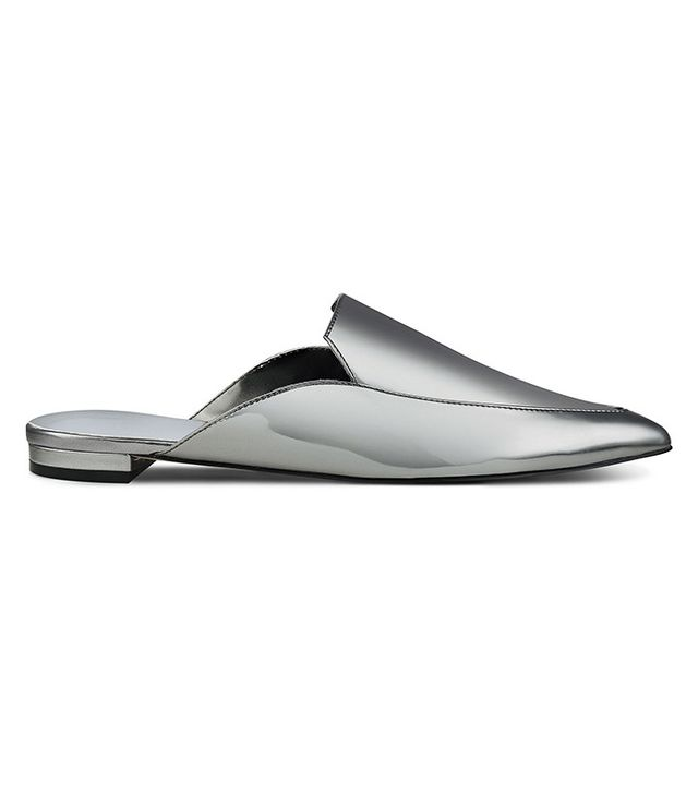 best silver flats- Nine West Alibelle Slides in Pewter