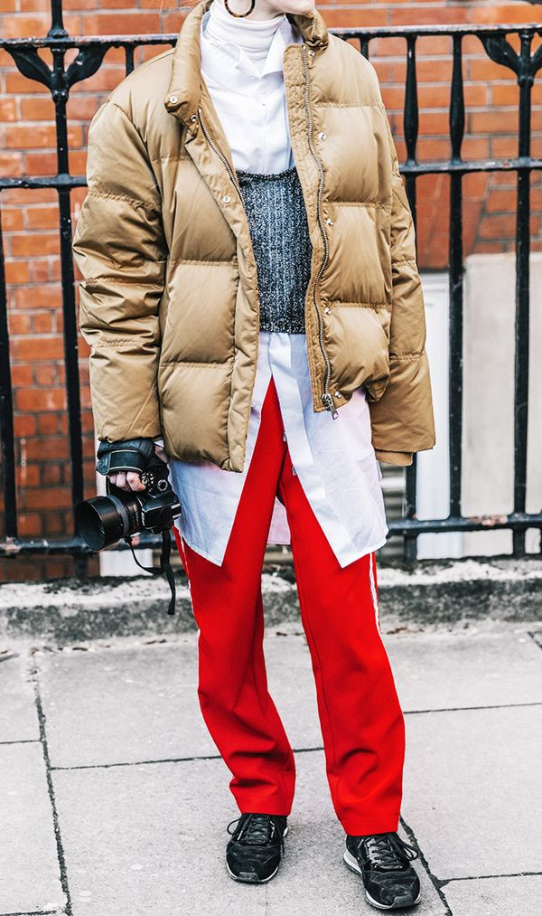 2017 sneaker trend - red track pants