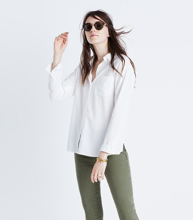 loose white button-down