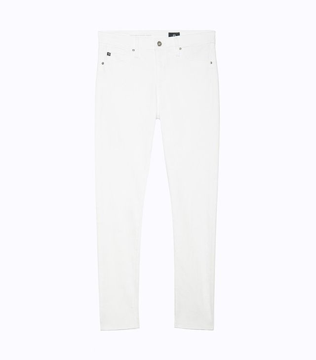 best white skinny jeans- AG The Farrah Skinny Ankle Jeans in White