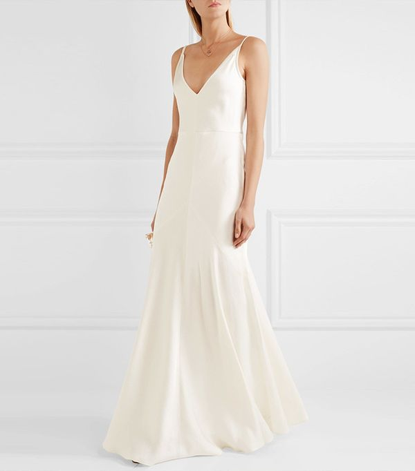 beach wedding dresses - Gabriel Hearst Louise Herringbone Silk Jacquard Gown