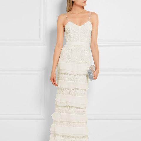 Penelope Tiered Crepon Trimmed Guipure Lace Gown