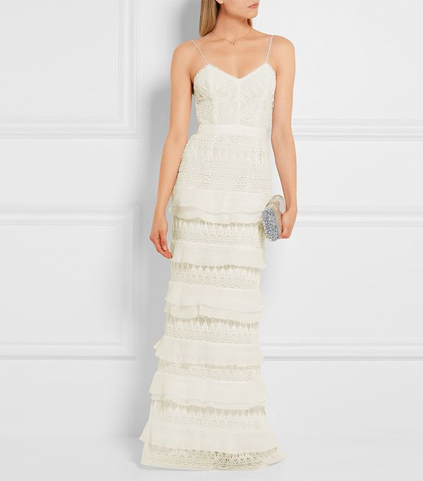 beach wedding dresses - Self-Portrait Penelope Tiered Crepon Trimmed Guipure Lace Gown