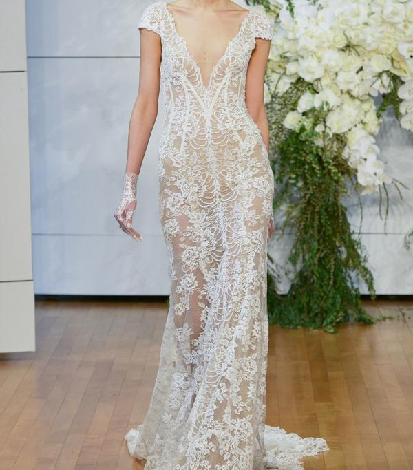 Arden Plunge Lace Sheath Gown