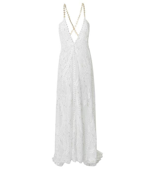 embroidered plunge dress