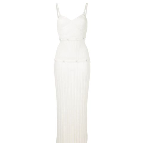 Button Trim Ribbed Long Dress