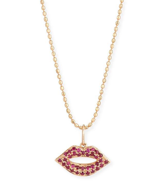 Sydney Evan 14K Gold Ruby Lips Pendant Necklace