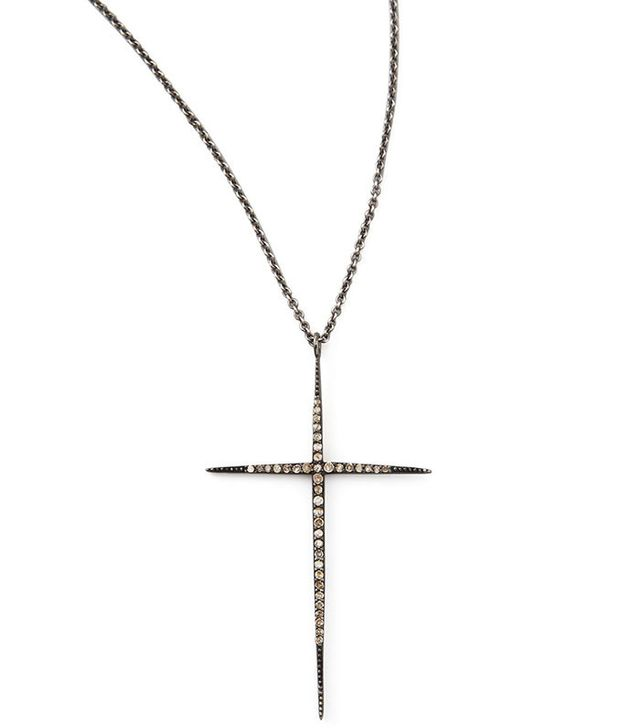 Zoe Chicco Pave Black Diamond Cross Necklace