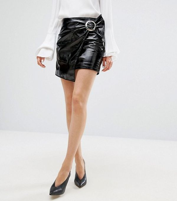 cute tshirt outfits - Mango Patent Wrap Front Mini Skirt