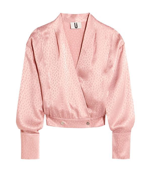 cute tshirt outfits - Topshop Unique Silk Jacquard Wrap Blouse