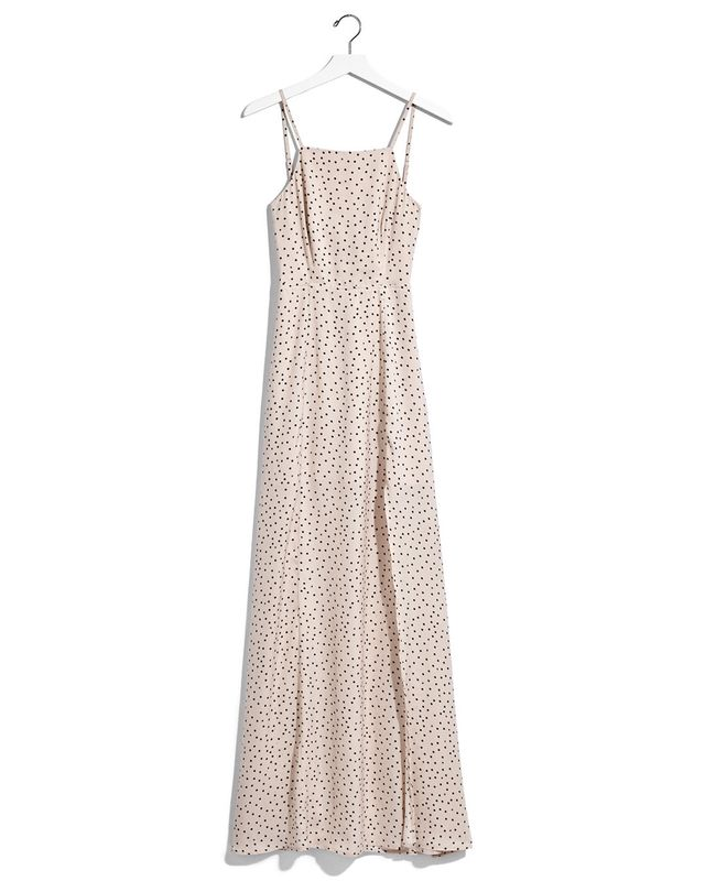 Express Karlie Kloss Dot Print Tie Back Maxi Dress