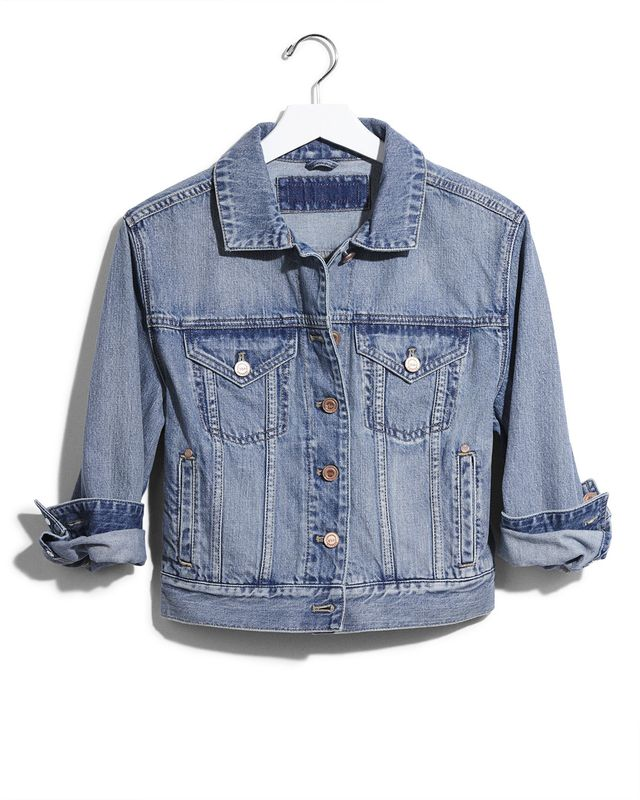 Express Karlie Kloss Cropped Denim Jacket