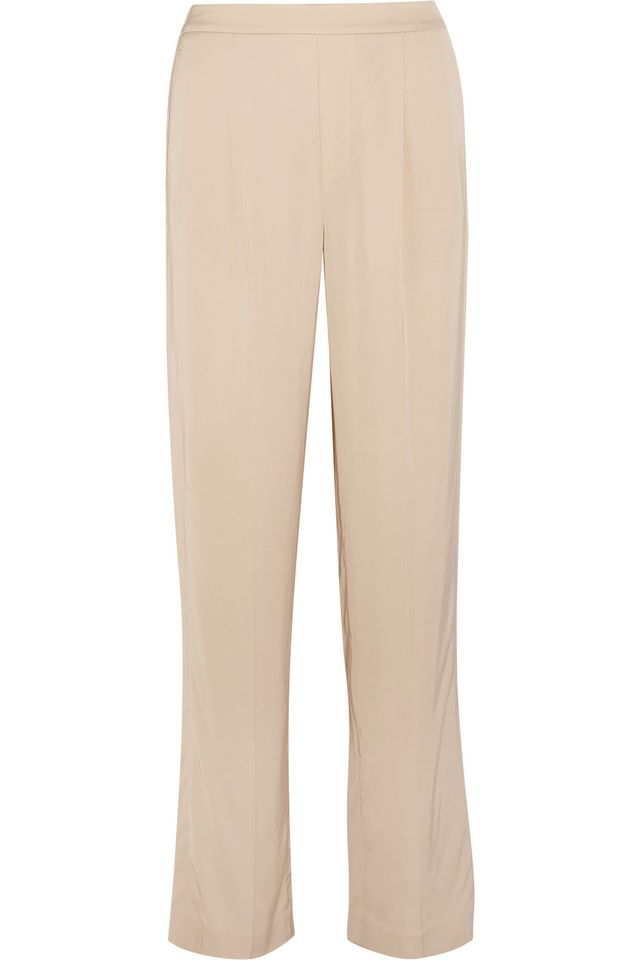 wide-leg pants—Vince Pleated Satin Wide-Leg Pants