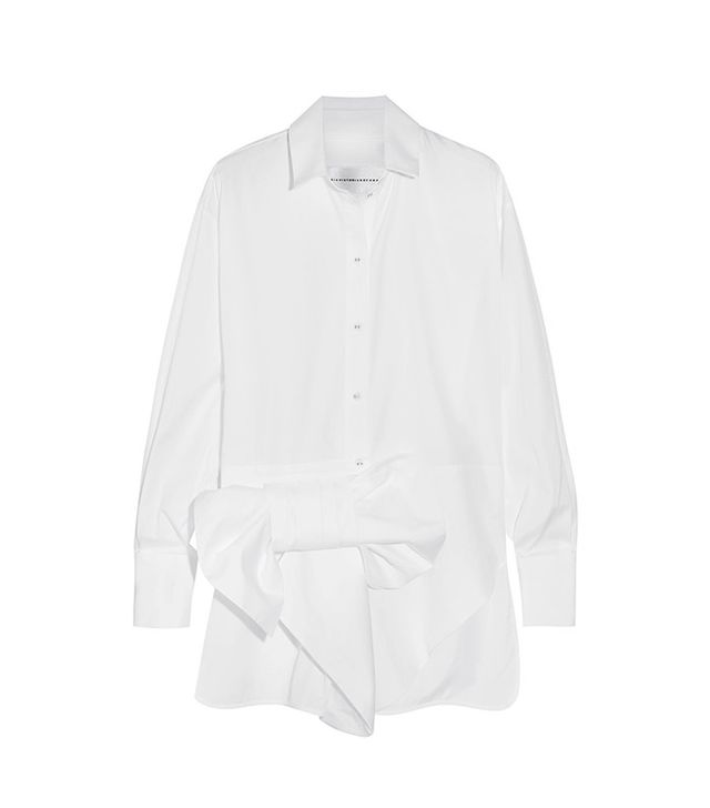 best workwear tops—Victoria by Victoria Beckham Bow-Embellished Cotton Shirt