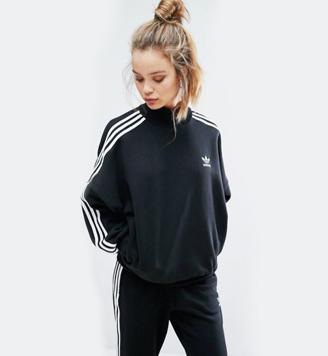 best sweatshirt—Adidas Black Three Stripe High Neck Sweatshirt