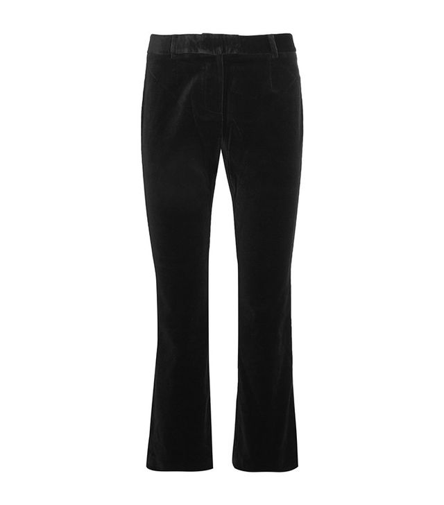 best velvet pants—Frame Velvet Cropped Velvet Flared Pants