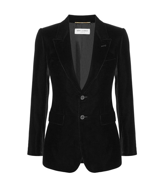 investment blazer—Saint Laurent Angie Velvet Blazer