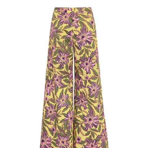 Floral Print Stretch Cotton Wide Leg Pants