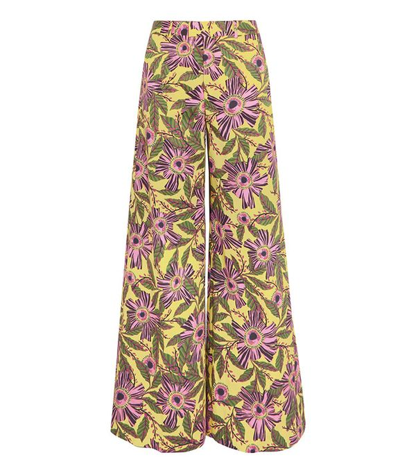 cute tshirt outfits - Red Valentino Floral Print Stretch Cotton Wide Leg Pants