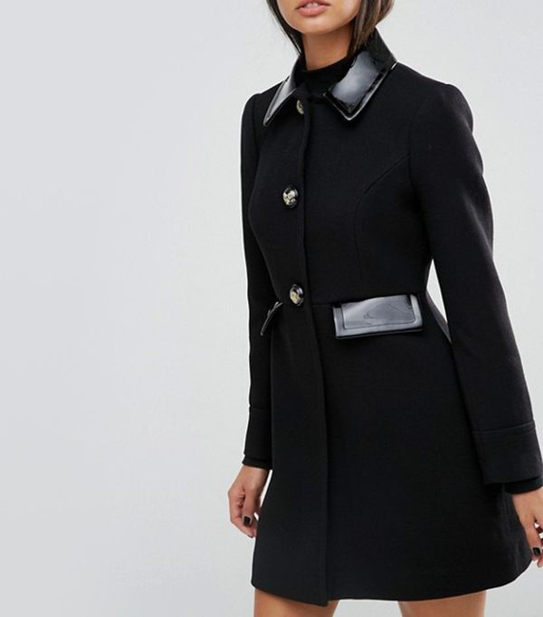 cute tshirt outfits - ASOS Skater Coat With Patent Contrast Trims