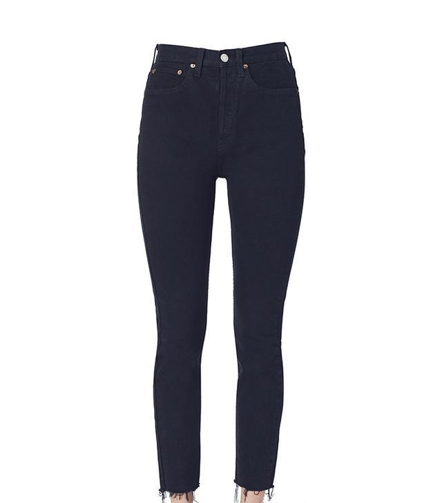 best black stretch skinny jeans- RE/DONE Originals Stretch Black High Rise Ankle Crop