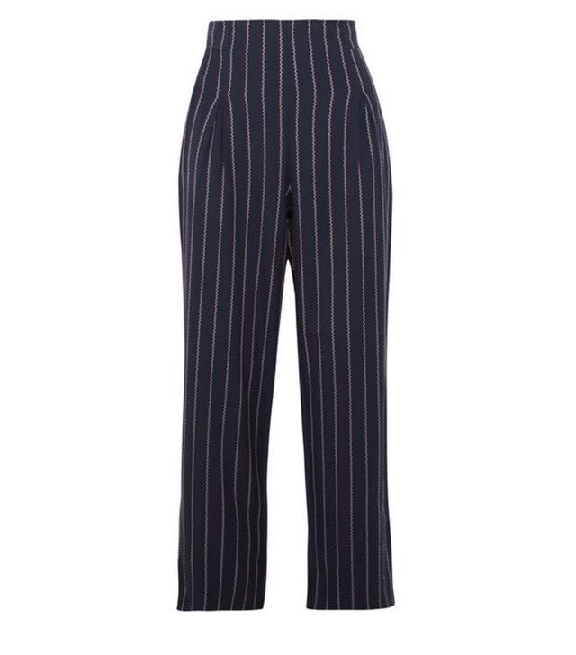 Ganni Oakwood Cropped Pinstriped Stretch-Crepe Wide-Leg Pants