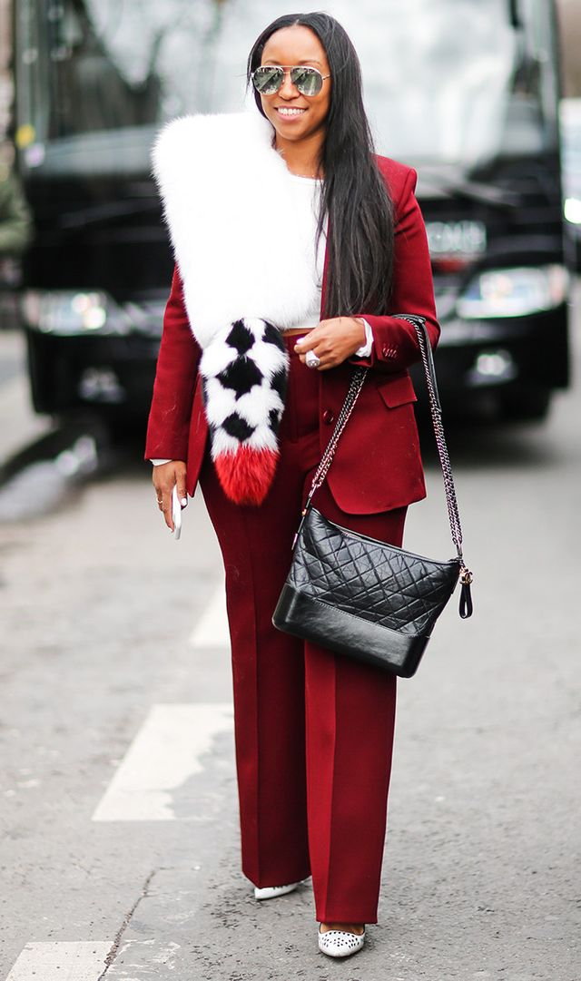 Shiona Turini wears her Gabrielle bag with a cool, monochrome look.