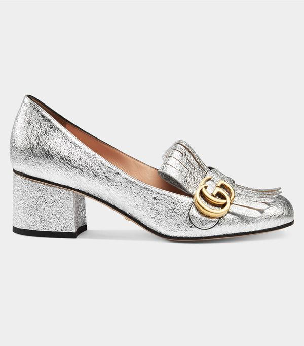 Best silver shoes: Gucci loafers