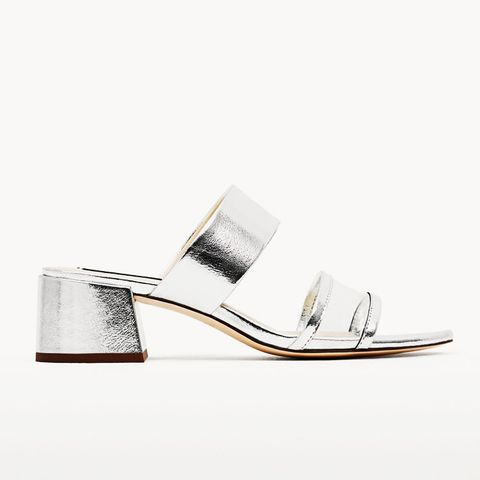 Silver Toned Mid Heel Sandals